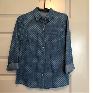 The Limited- Blue & White Polka Dot Button Down